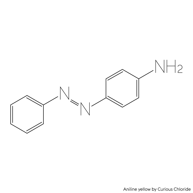 Structural formula of aniline yellow in the group azo dyes