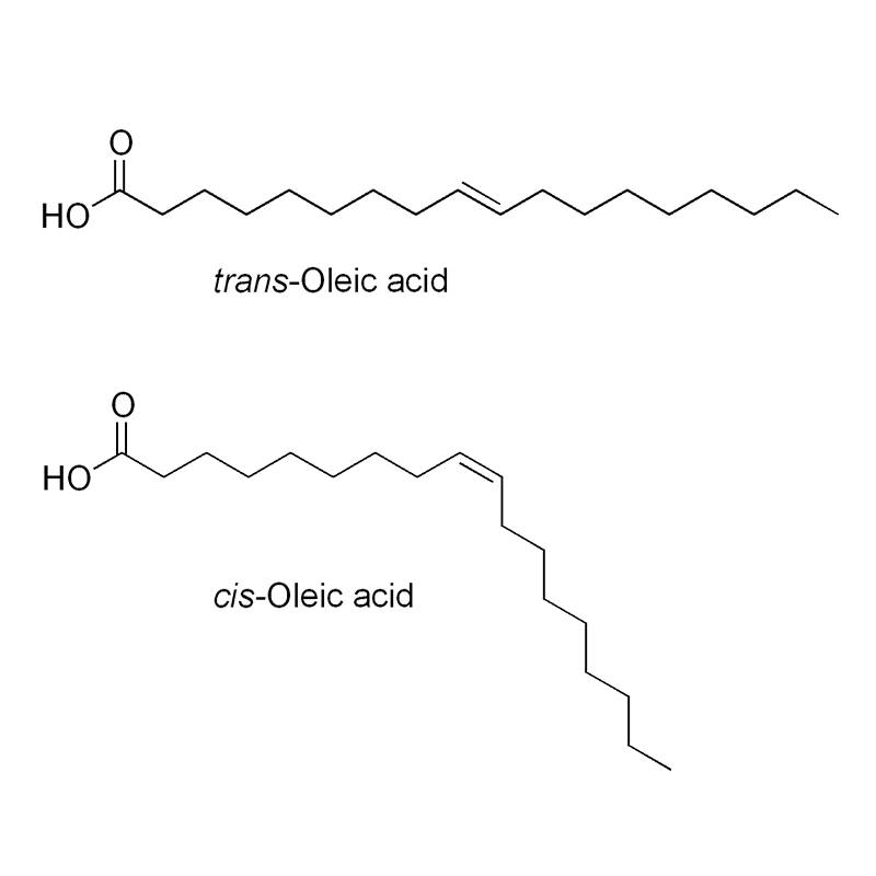 Structural formula of Isomers of oleic acid